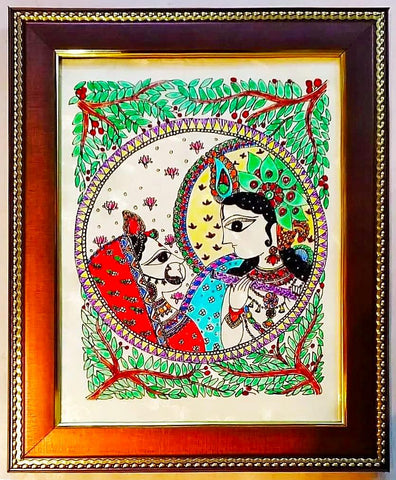 Glass Painting - Radha Krishna playing flute - Ahaeli