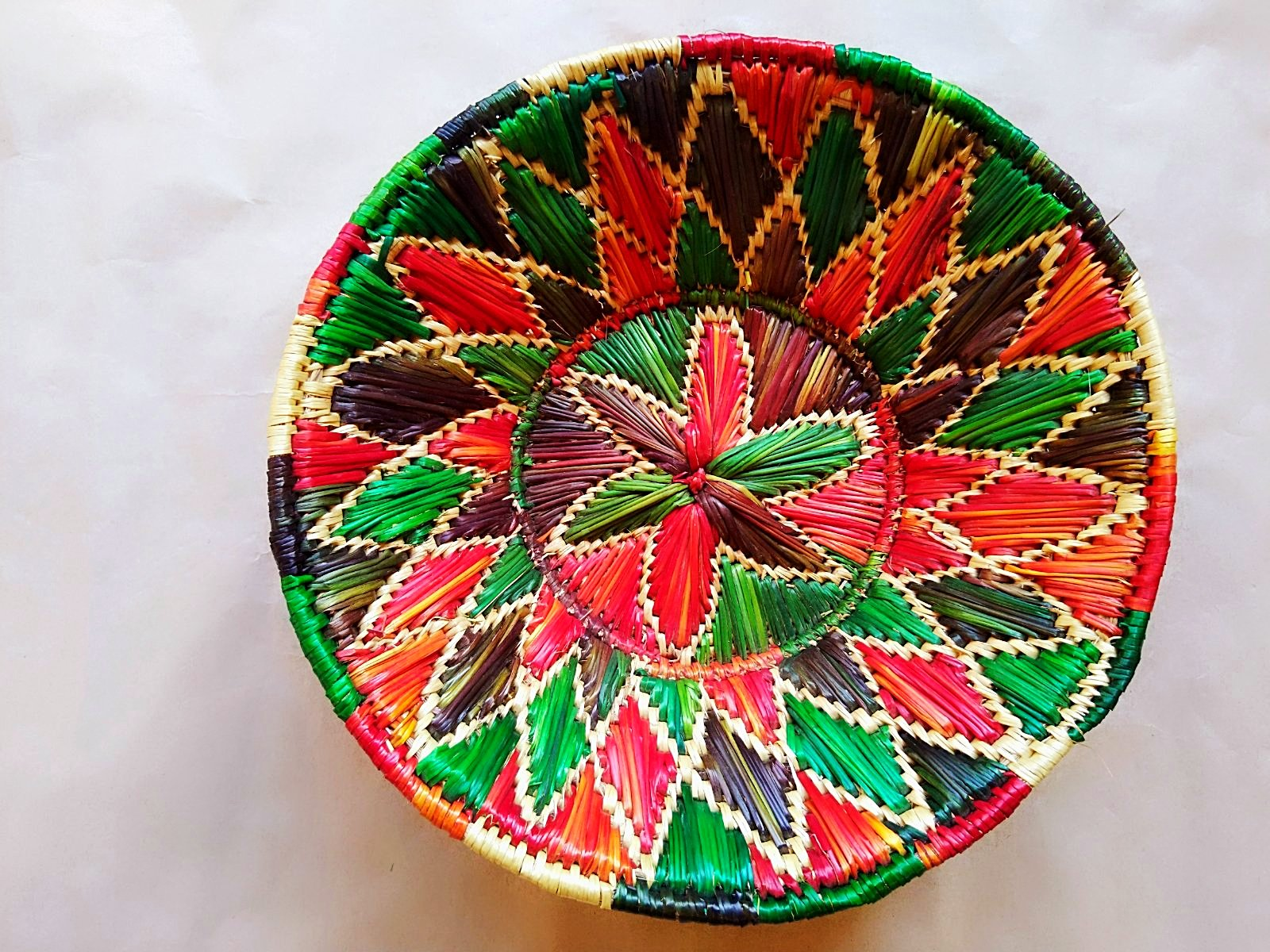 Sikki Grass Decorative Basket- Red & Green Floral Small - Ahaeli