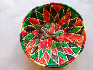 Sikki Grass Decorative Basket- Red & Green Floral Small