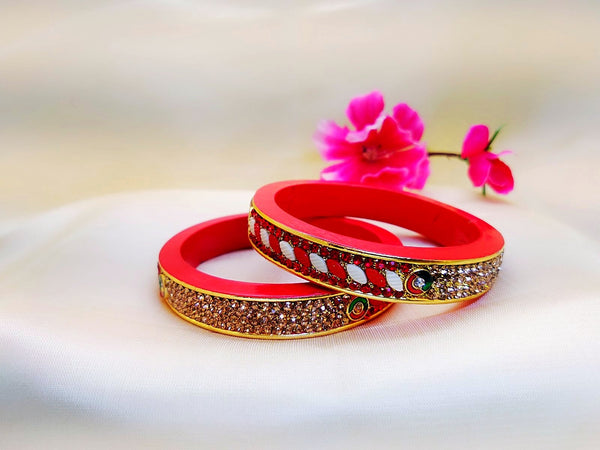 Lac Bangles - Red four line stone work - Ahaeli