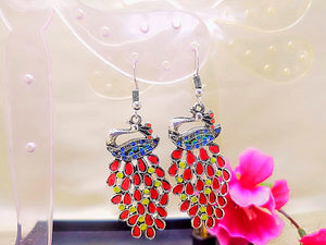 Earrings - Red Peacock - Ahaeli