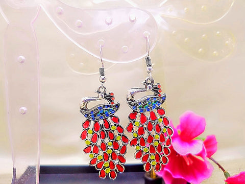 Earrings - Red Peacock