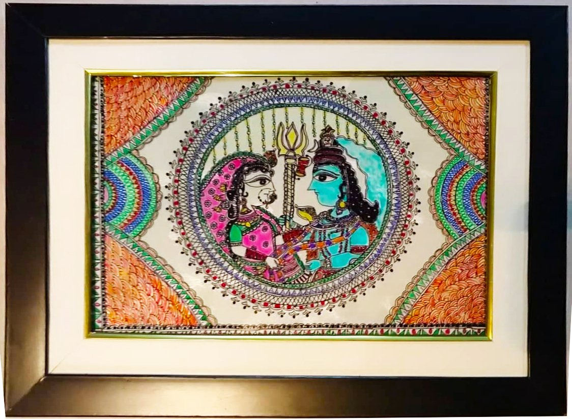 Glass Painting - Shiv Parvati Mithila Painting