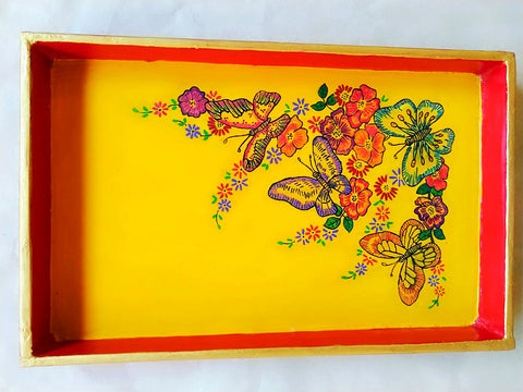 Wooden Tray - Spring Butterflies