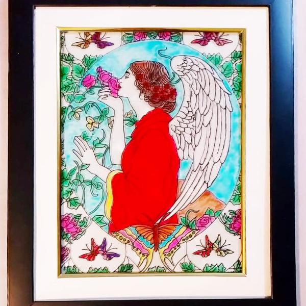Glass Painting - Angel in Red - Ahaeli