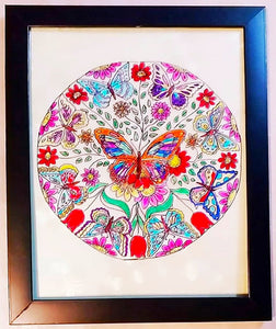 Glass Painting - Butterflies Mandala