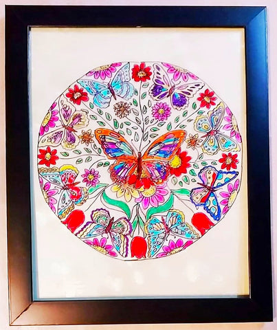 Glass Painting - Butterflies Mandala - Ahaeli