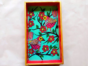 Wooden Tray - Cheerful Birds (Mithila Art)