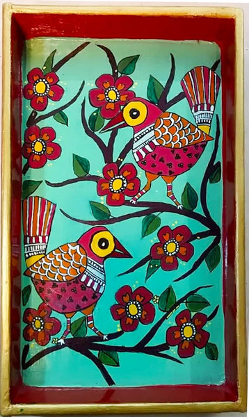 Wooden Tray - Cheerful Birds (Mithila Art) - Ahaeli