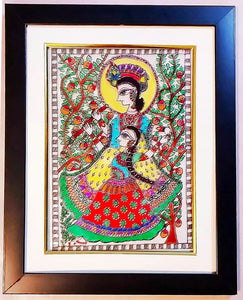 Glass Painting - Dancing Radha Krishna (Mithila Art)