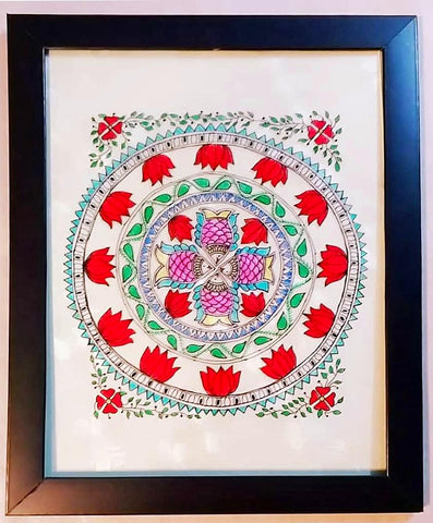 Glass Painting - Four Fishes (Mithila Art)