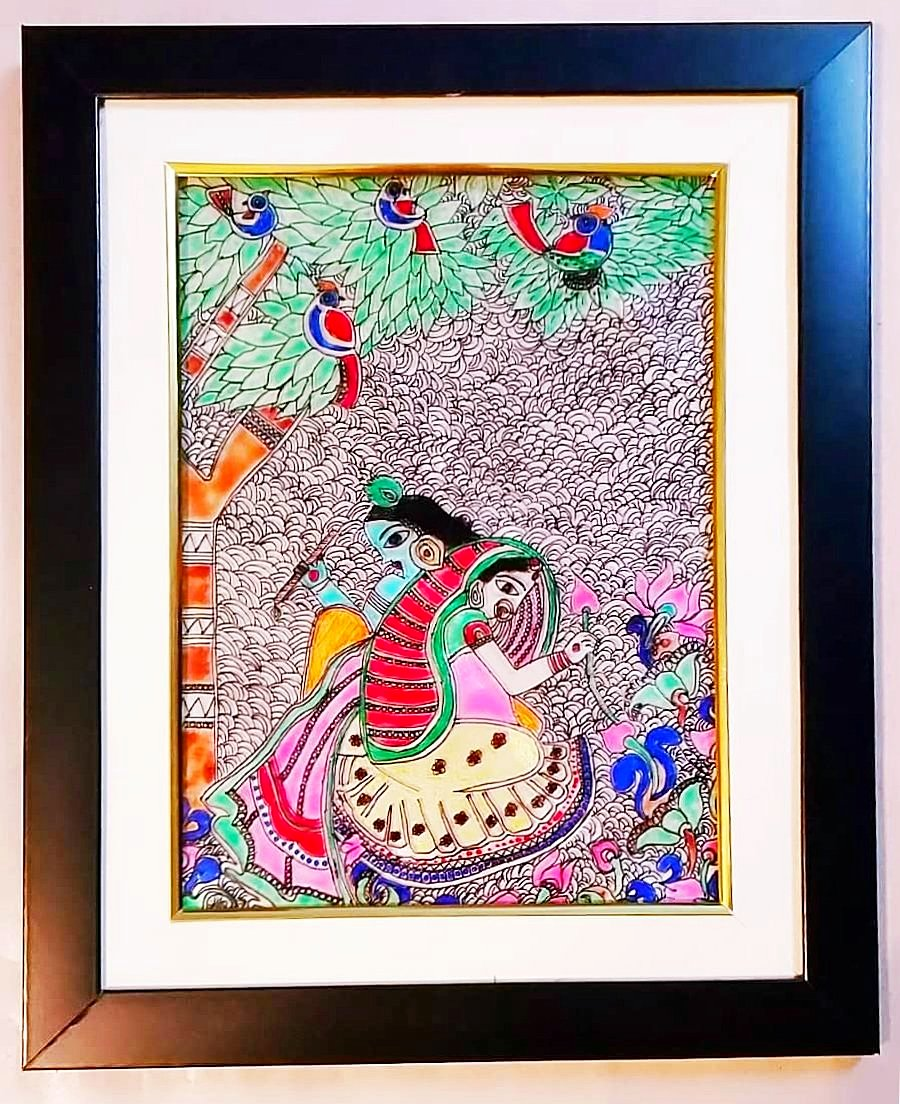 Glass Painting - Radha Krishna in garden