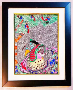 Glass Painting - Radha Krishna in garden - Ahaeli