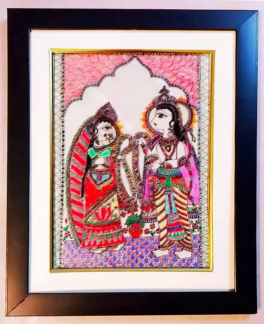 Glass Painting - Sita Swayamvar Mithila Painting