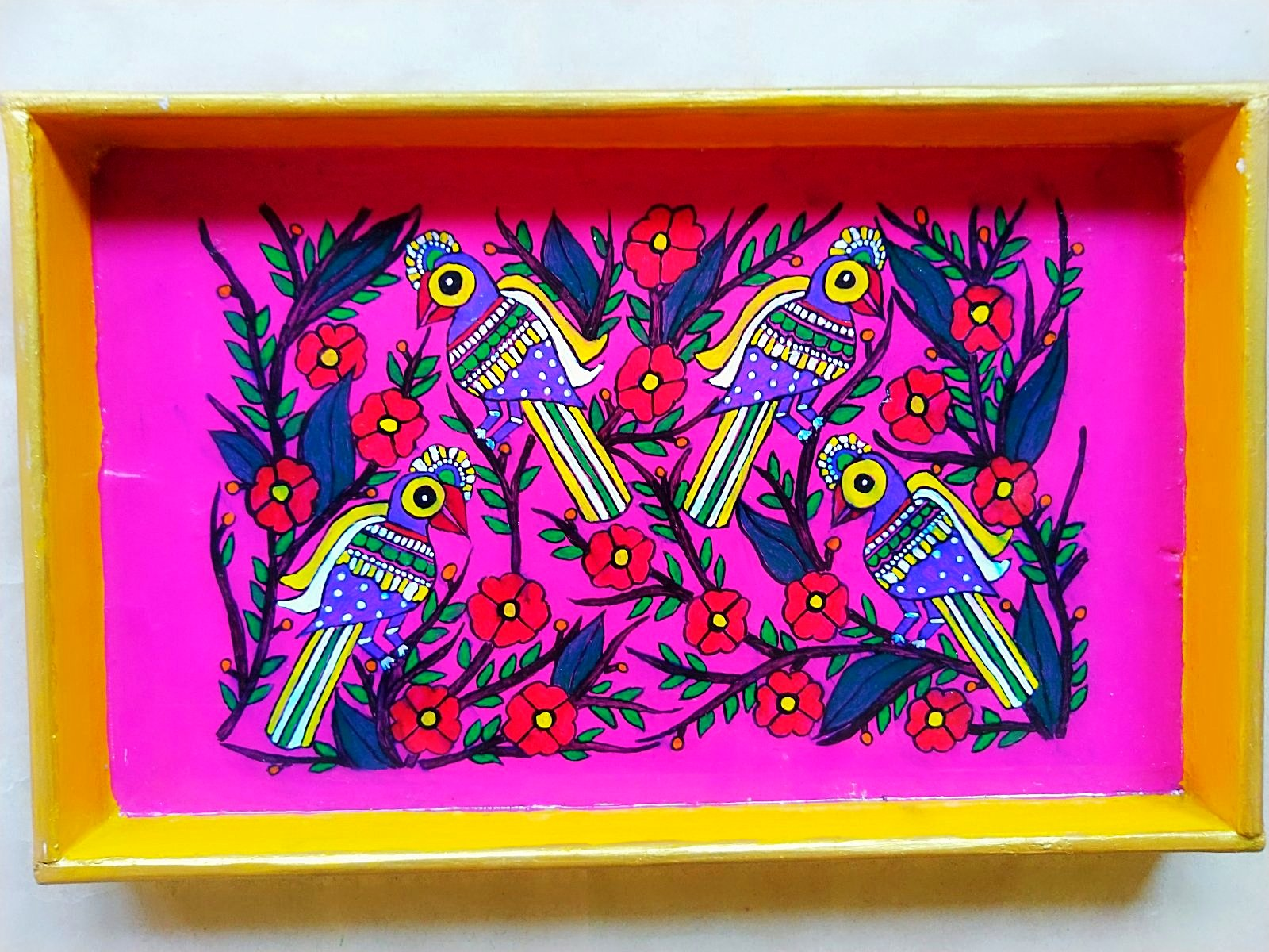 Wooden Tray - Tree of Life (Mithila Art)