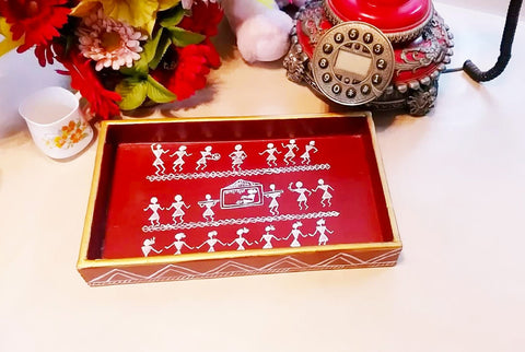 Wooden Tray - Wedding Celebration (Warli Art)