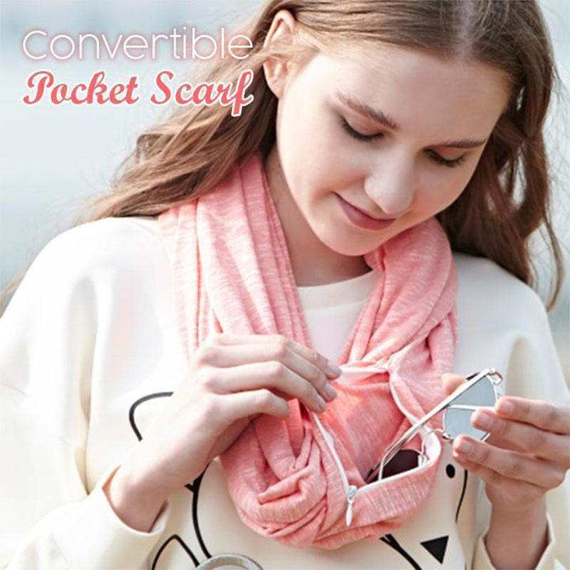 Smart Travel Scarf with Secret Pickpocket Proof Zipper Pockets - oblevs