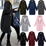 Plain Pockets Long Sleeve Plus Size Jacket - oblevs