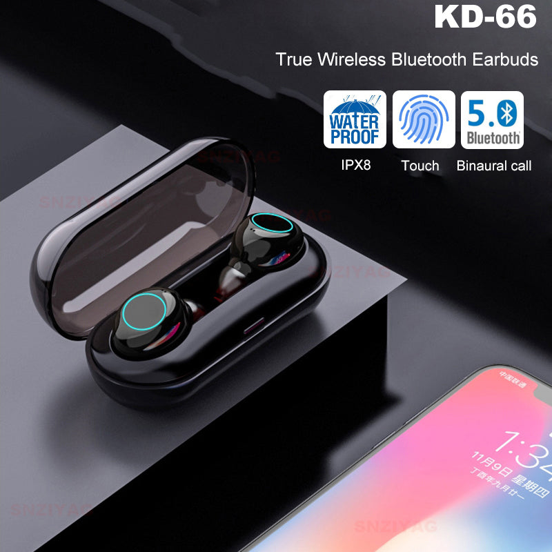 wireless headphones Bluetooth V5.0 touch  Mini sports earphones - oblevs
