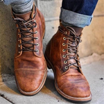 Men Retreo Style Leather Ankle Boots - oblevs