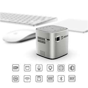 Wireless WiFi Portable Projector - DLP Pico LED 1080p HD Mini Projector - Supports Android Miracast, iOS Apple Airplay Phones and Devices - Rechargeable with Speakers - HDMI and Micro SD Card - oblevs