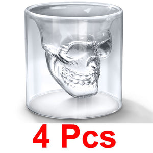 Fashionable Creative Crystal Double Layer Glass Cup Skull Head Shaped Wine Beer Juice Glass Shot Glass Goblet - oblevs