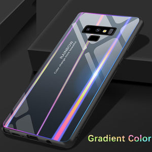 Rainbow Gradient Color Tempered Glass Back Cover+TPU Frame Protective Case For Samsung - oblevs