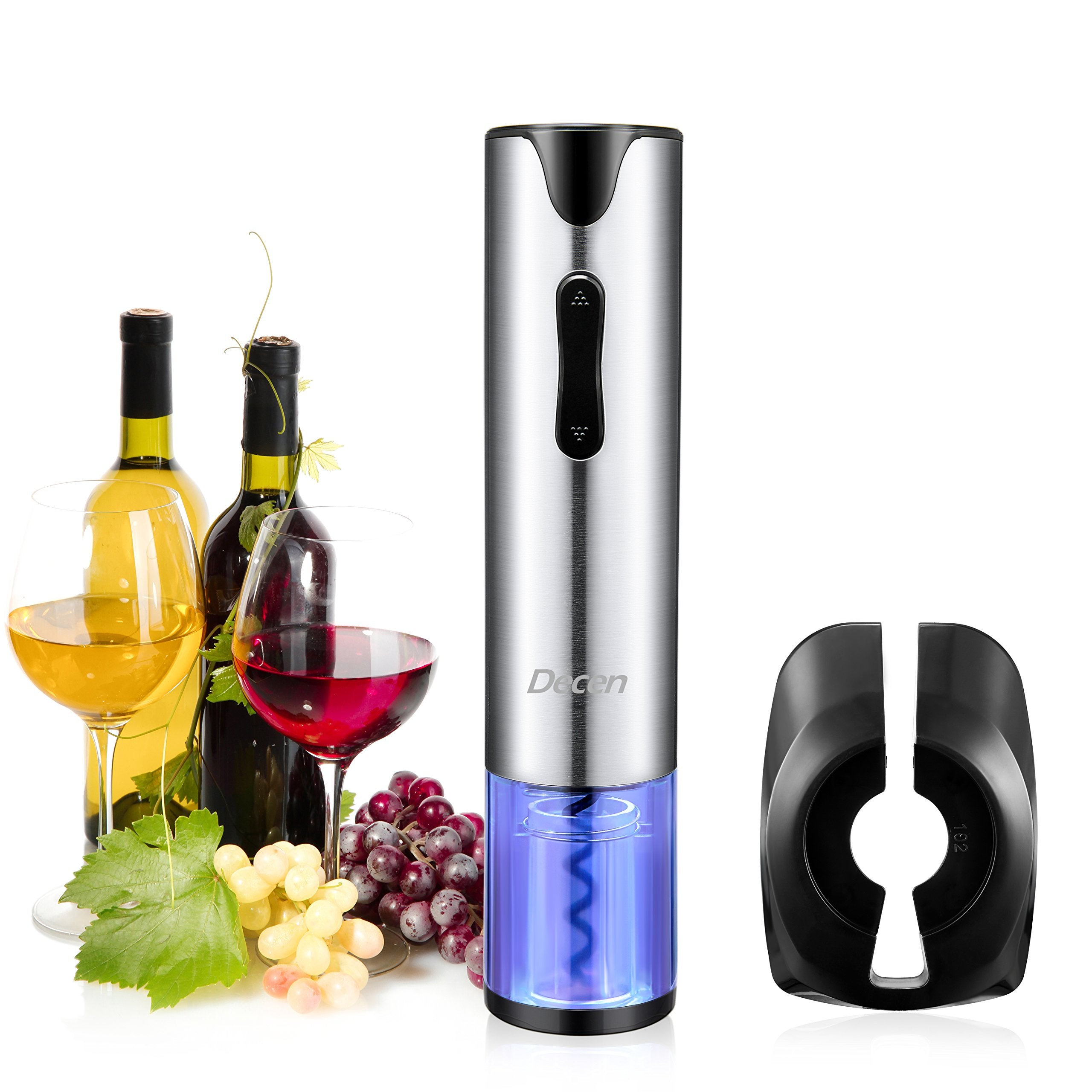 Wine Opener,Wine Corkscrew, USB Electric Wine Opener Kit, Stainless Steel Color Chaning Corkscrew Wine Opener with Free Foil Cutter - oblevs