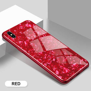 Luxury Bling Soft Frame Tempered Glass Cover Phone Case For iPhone - oblevs