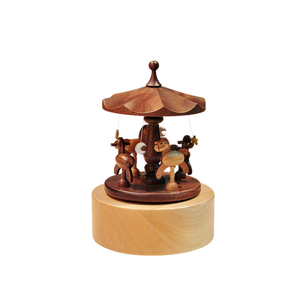 Horse Carousel Walnut Music Box - Idea Gift