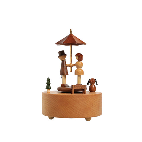 Love Umbrella Walnut & Maple Music Box