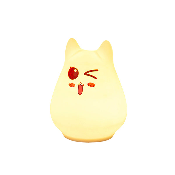 Adorkable Cat Silicone Seven Color Touch Light (Rechargeable) - Idea Gift