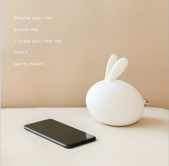 Cute Rabbit Soft Silicone Lamp USB Charge LED 7 Color Touch to Change Color Festival Decorative Sleep Night Light Children Gift - Idea Gift
