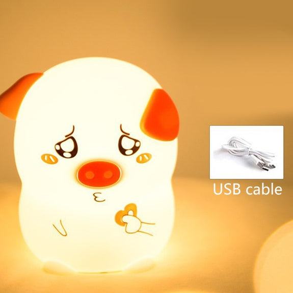 Silicone night light animal pig small night light USB charging pat lamp home accessories