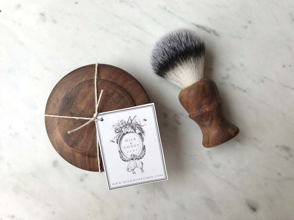 Wooden Shave Soap Dish & Badger Brush