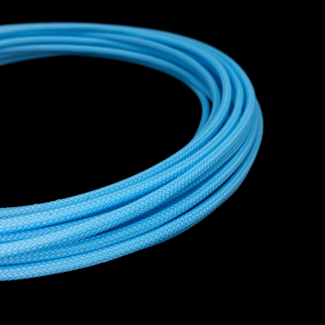 PET Cable Braided Sleeve - Aqua Blue - 5/32in (4mm)
