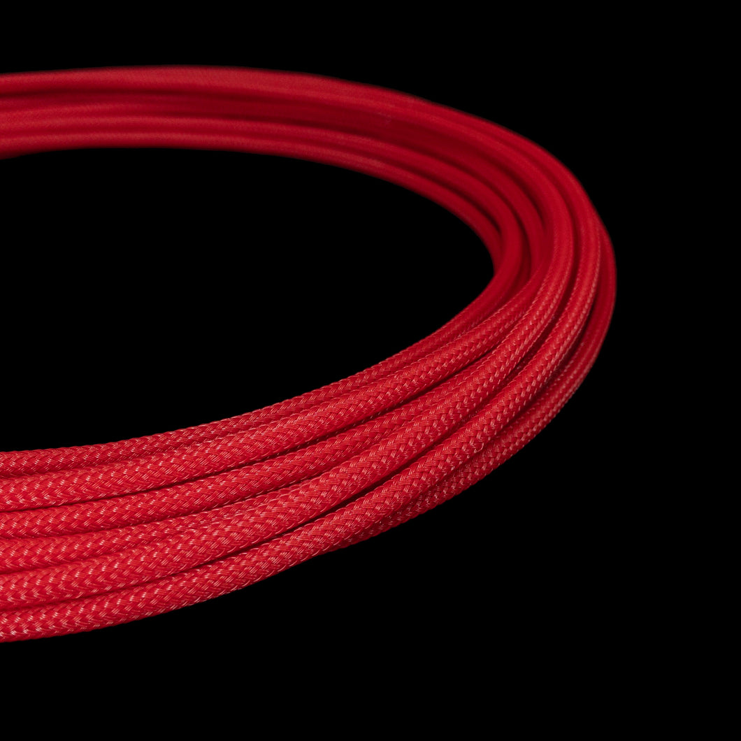 PET Cable Braided Sleeve - Red - 5/32in (4mm)