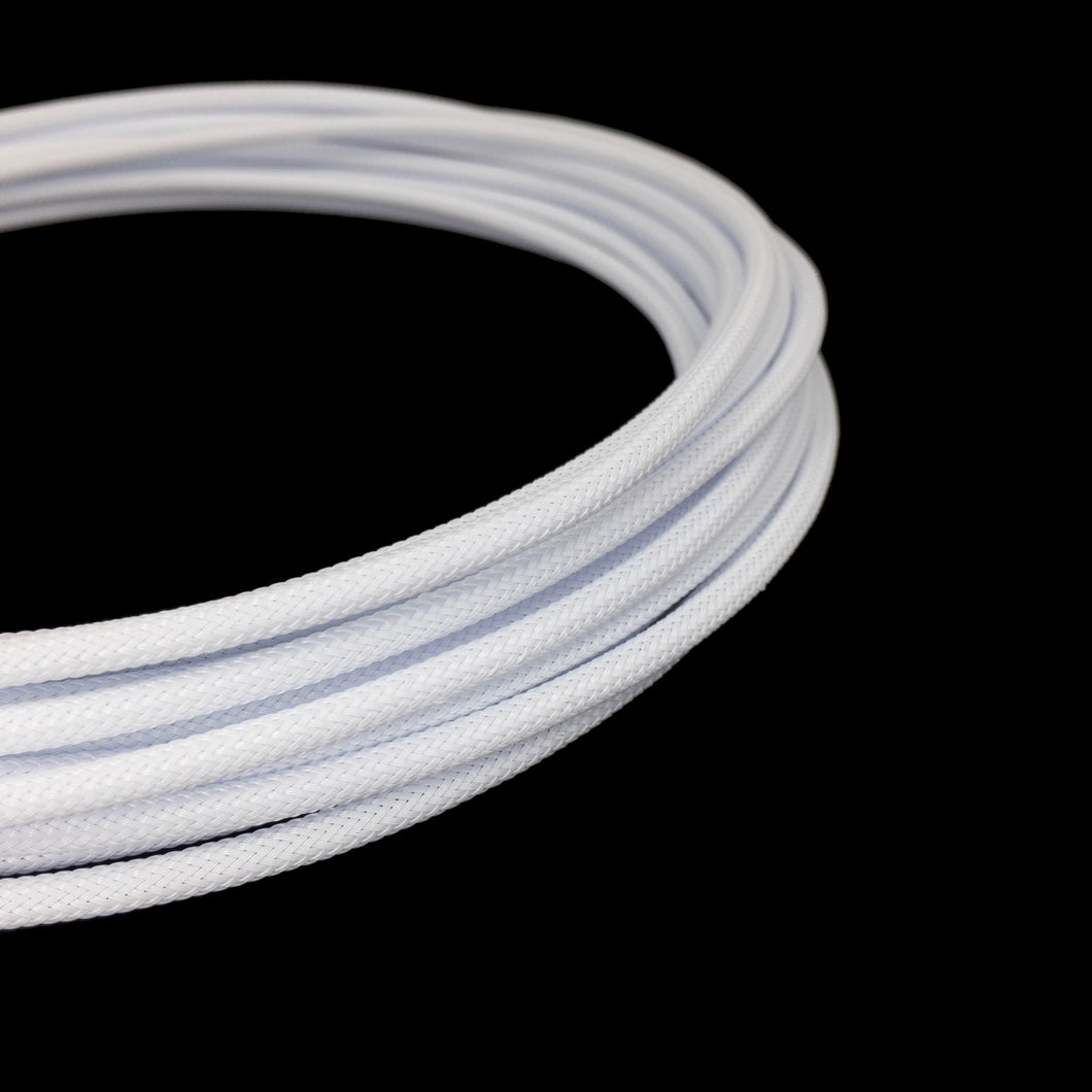 PET Cable Braided Sleeve - White - 5/32in (4mm)