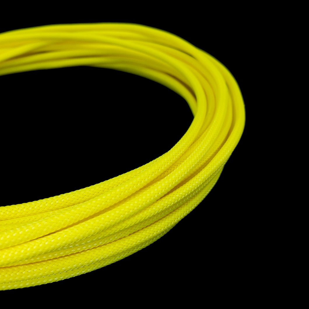 PET Cable Braided Sleeve - Yellow - 5/32in (4mm)