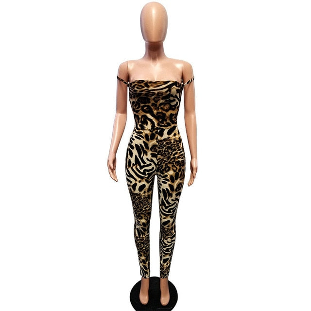 bb4c6034e260 Fashion Leopard Print Jumpsuit Women Sexy Lace-up Backless Bodycon ...