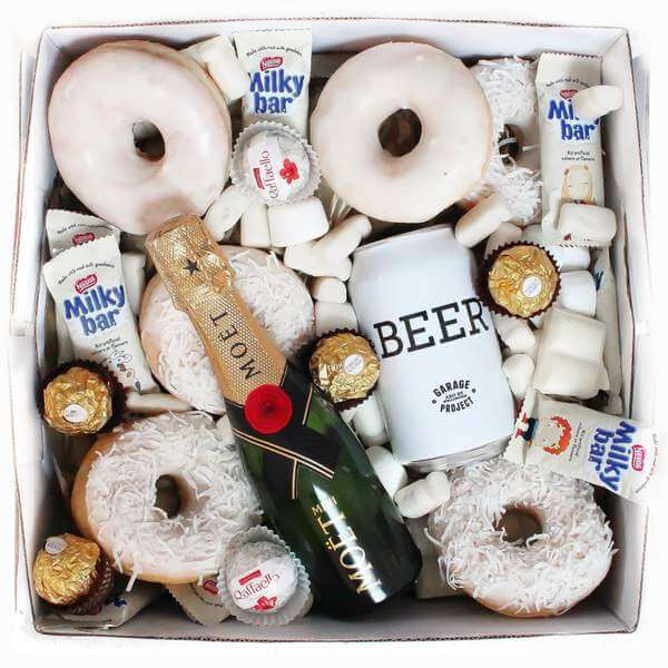 The perfect luxe white gift box with beer and wine