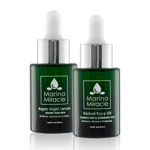 Argan Night Serum en Herbal Face Oil in twee donker groene flesjes met pipet.