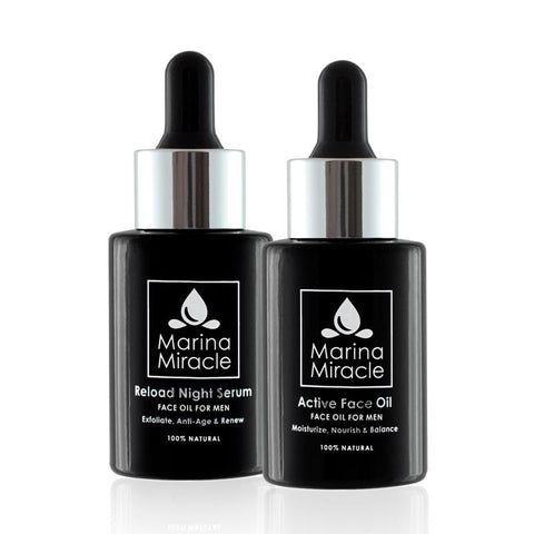 Active Face Oil en Reload Night Serum voor mannen in zwart flesjes met pipet.