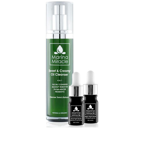 marina miracle bundel met daarin de sweet & creamy oil cleanser met acne fight serum en argan night serum travel sizes