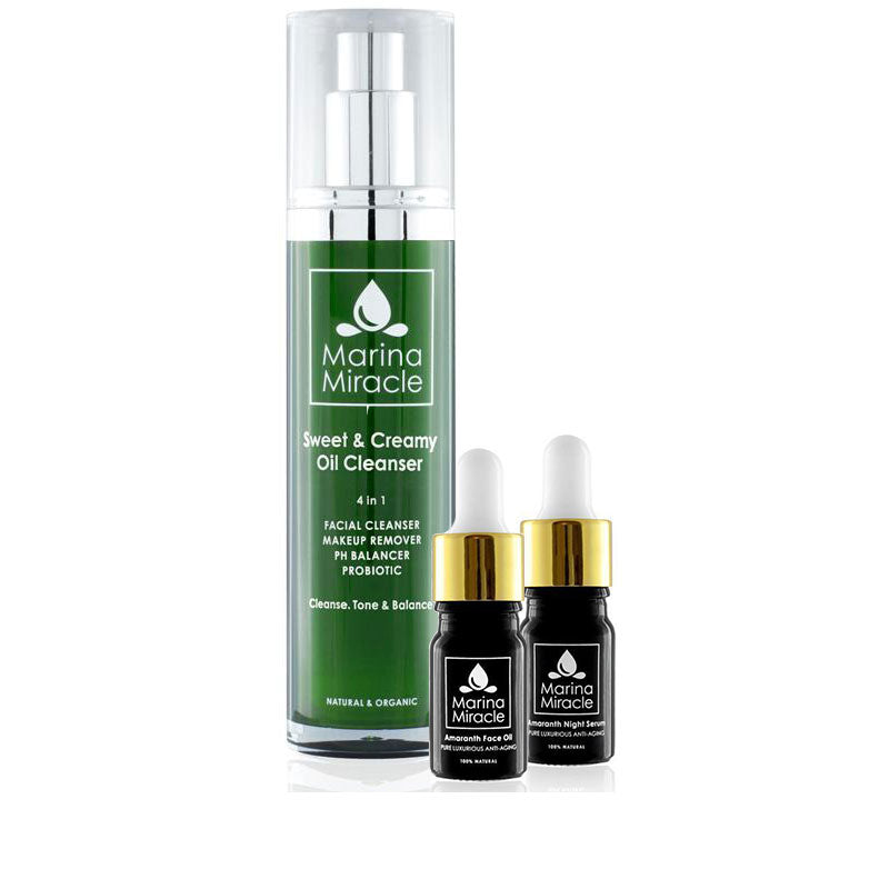 marina miracle bundel met daarin de sweet & creamy oil cleanser met amaranth night serum en amaranth face oil travel sizes