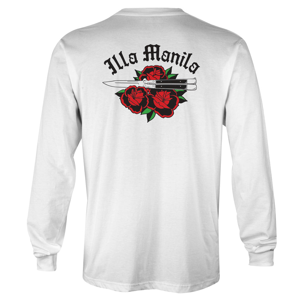 Roses Are Red Long Sleeve T-shirt - White