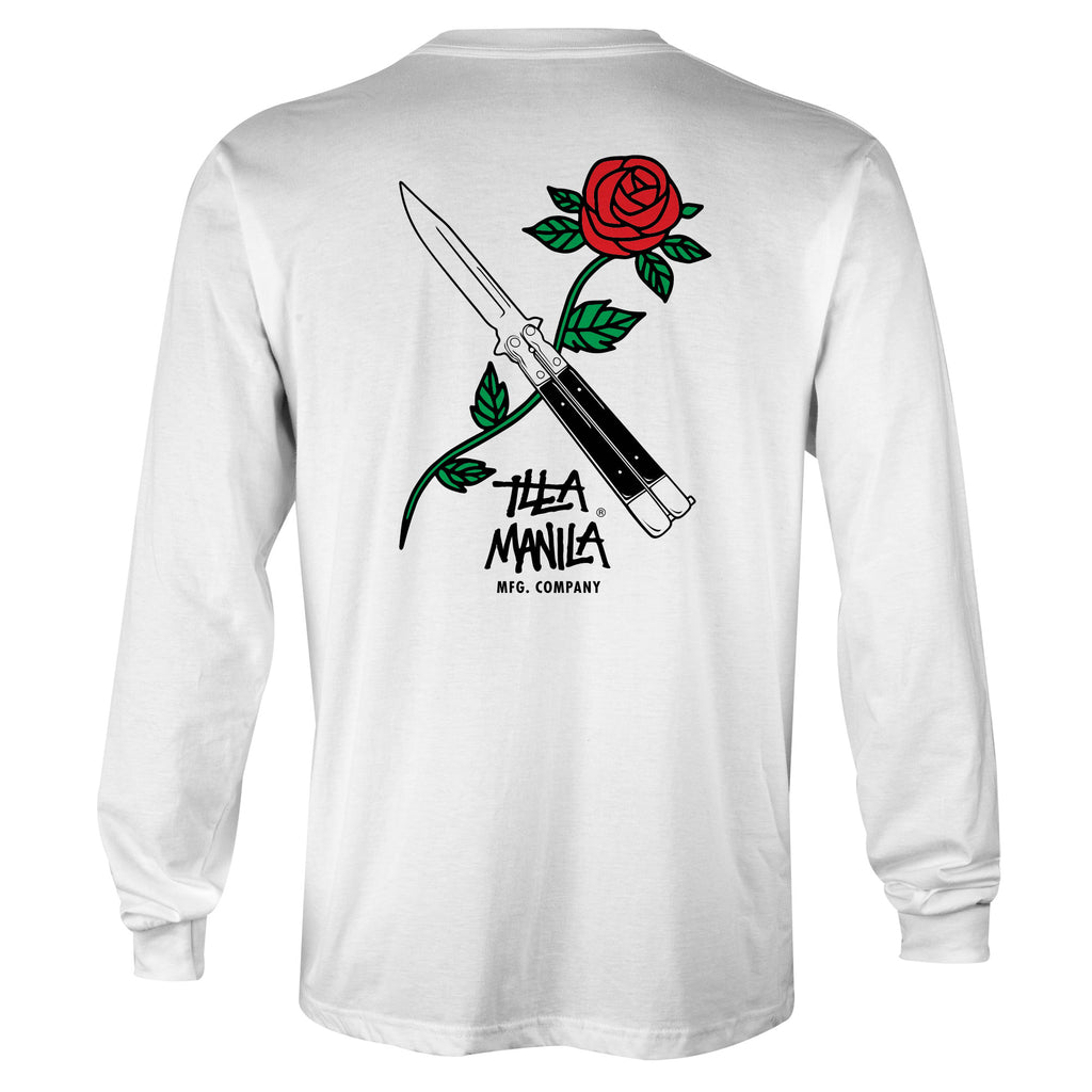 Balisong Rose Long Sleeve T-shirt - White