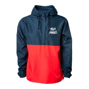 ILLA Logo Windbreaker Pullover Jacket - Navy / Red