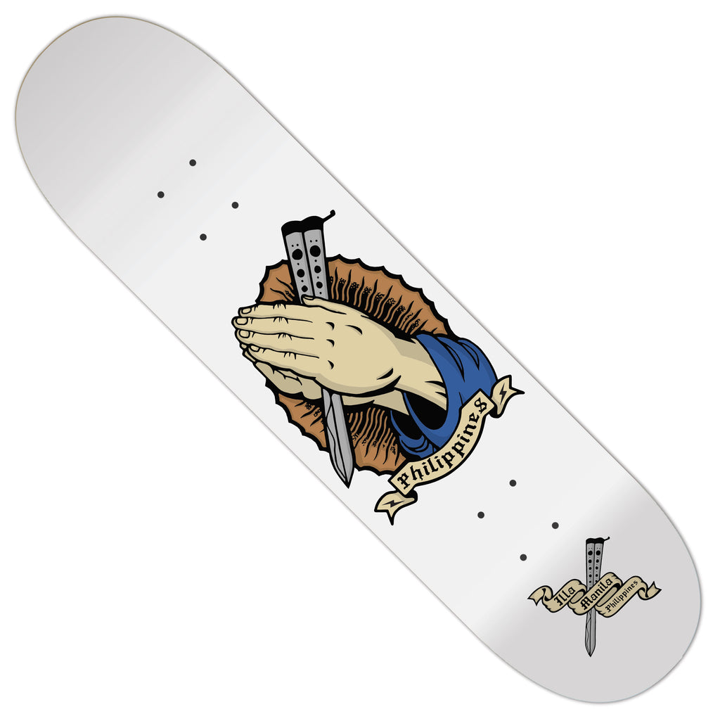 Praying Hands Balisong Skateboard deck 8.25""