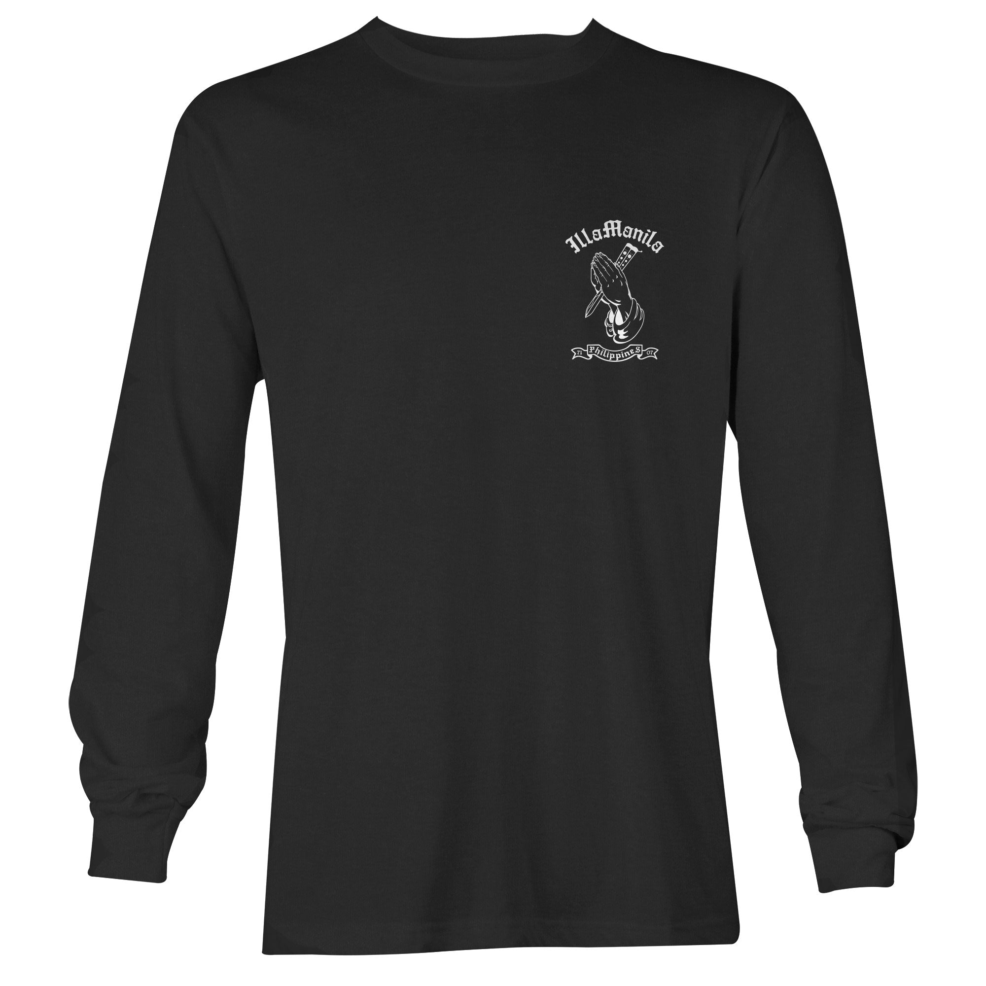 Praying Hands Balisong Long Sleeve T-shirt - Black